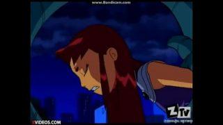 Raven y Starfire Luchando Contra En Tentáculos Folladores.